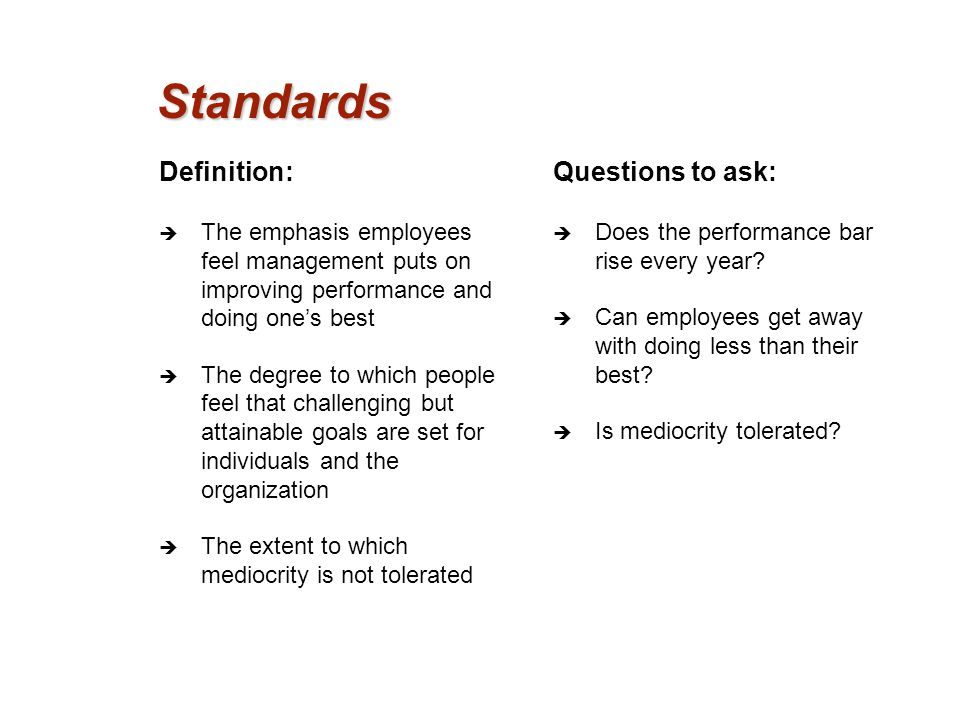 Standards Definition: Questions to ask: