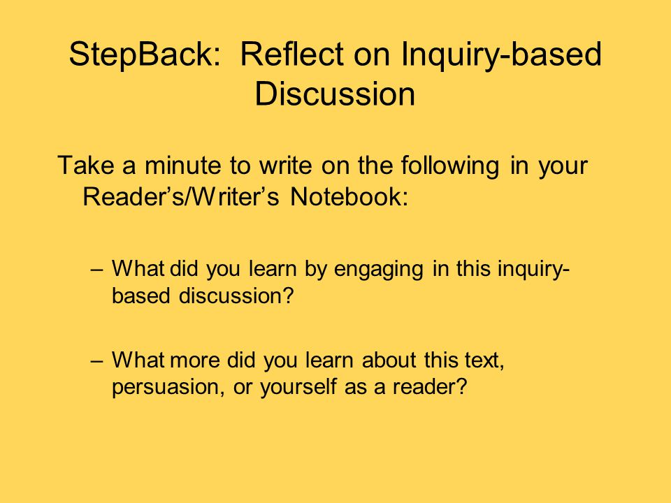 StepBack: Reflect on Inquiry-based Discussion