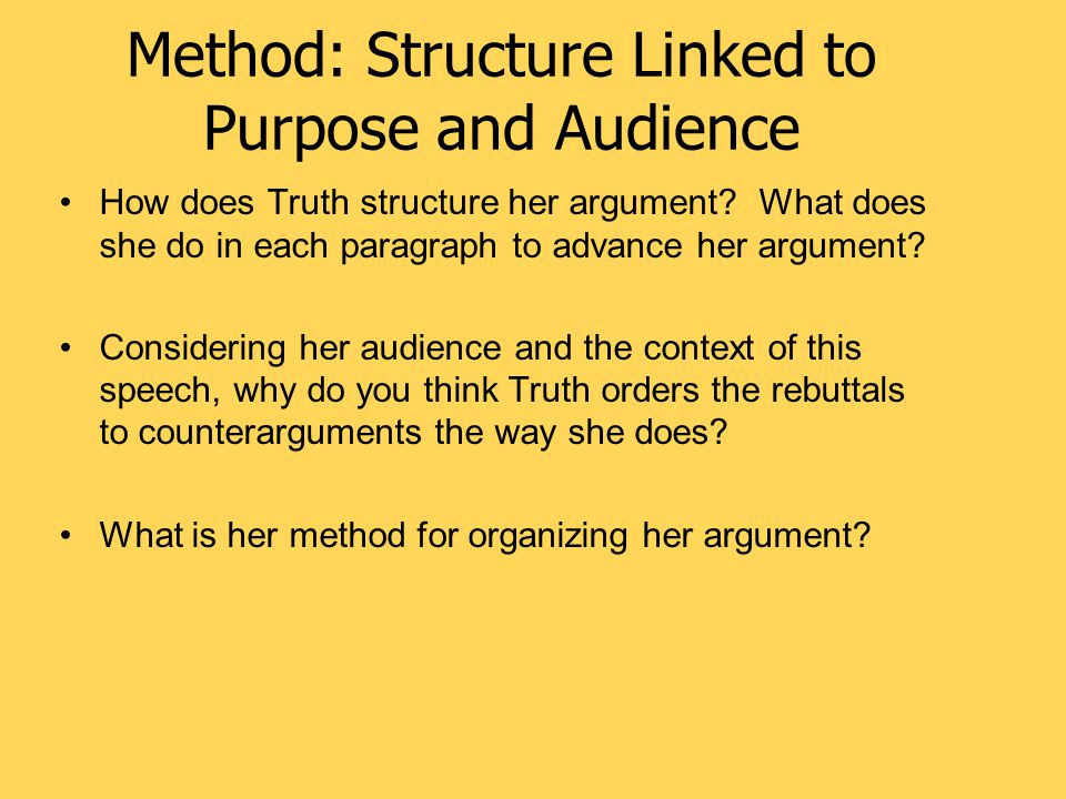 Method: Structure Linked to Purpose and Audience