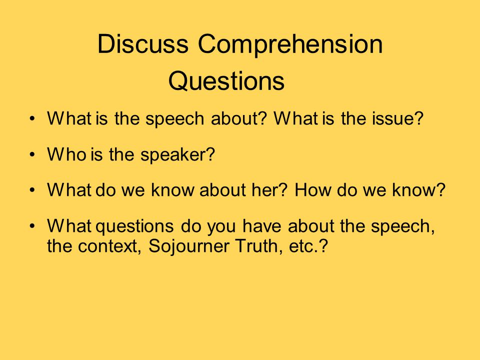 Discuss Comprehension Questions