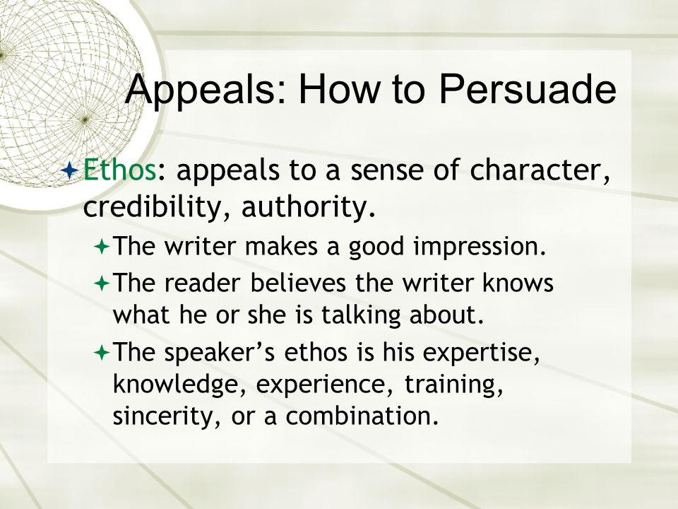 Appeals: How to Persuade