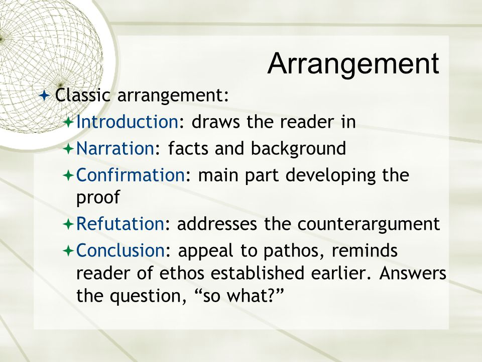 Arrangement Classic arrangement: Introduction: draws the reader in