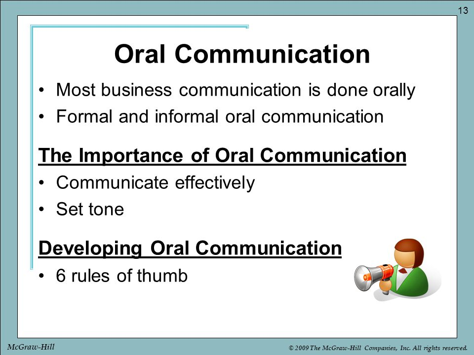 Oral Communication The Importance of Oral Communication