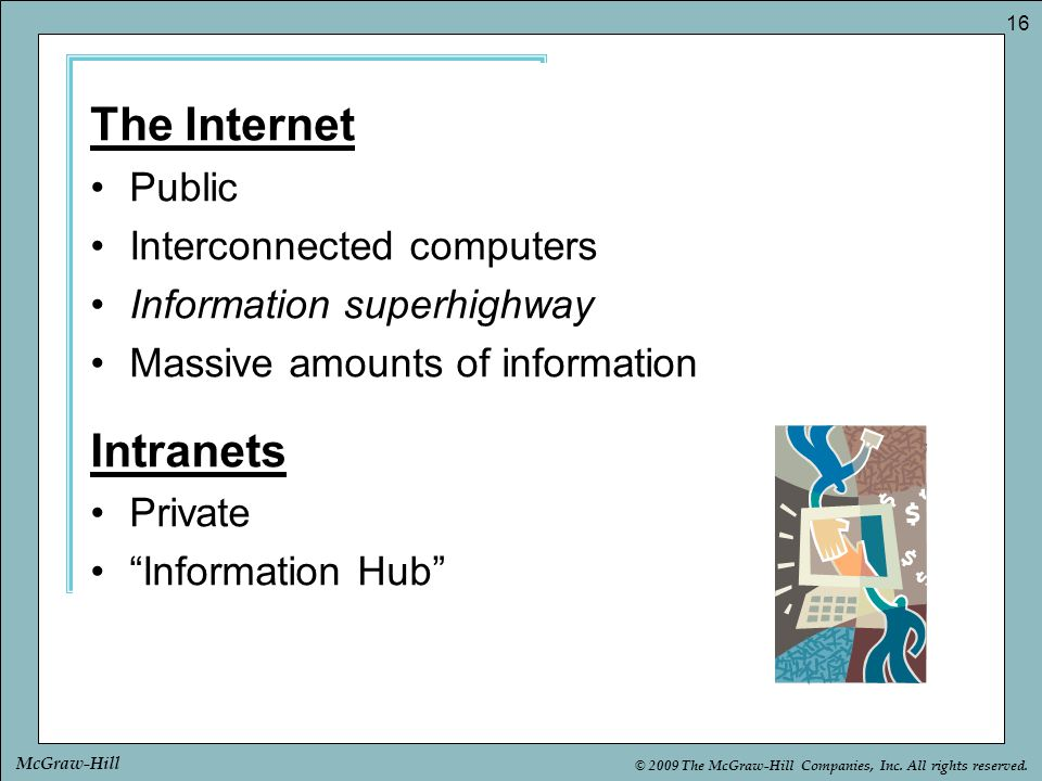 The Internet Intranets Public Interconnected computers