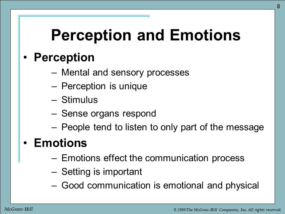 Perception and Emotions