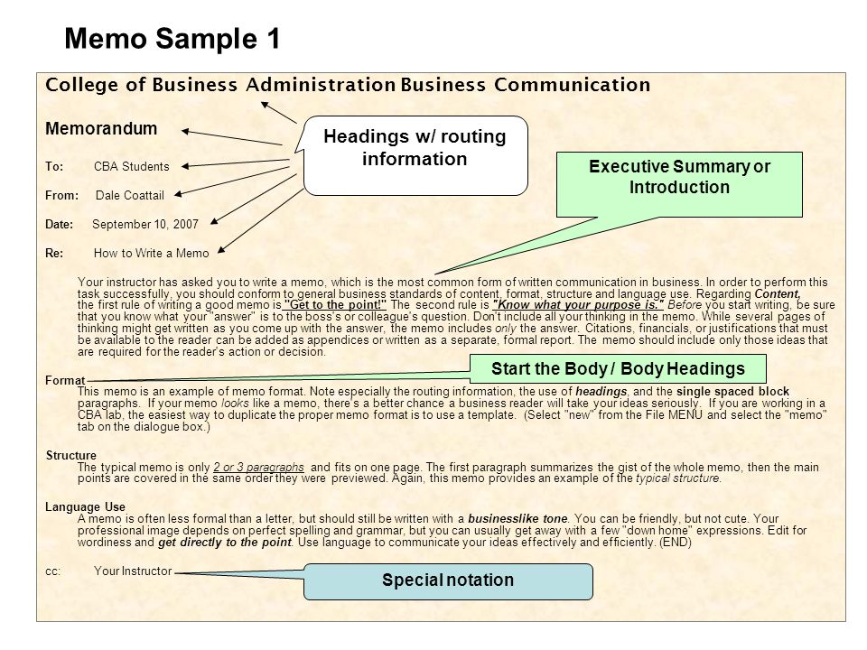 Basic Business Writing ppt video online download – Sample Executive Memo