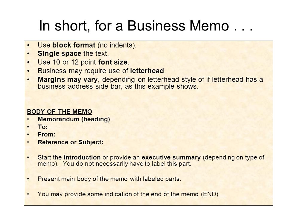 memo outline