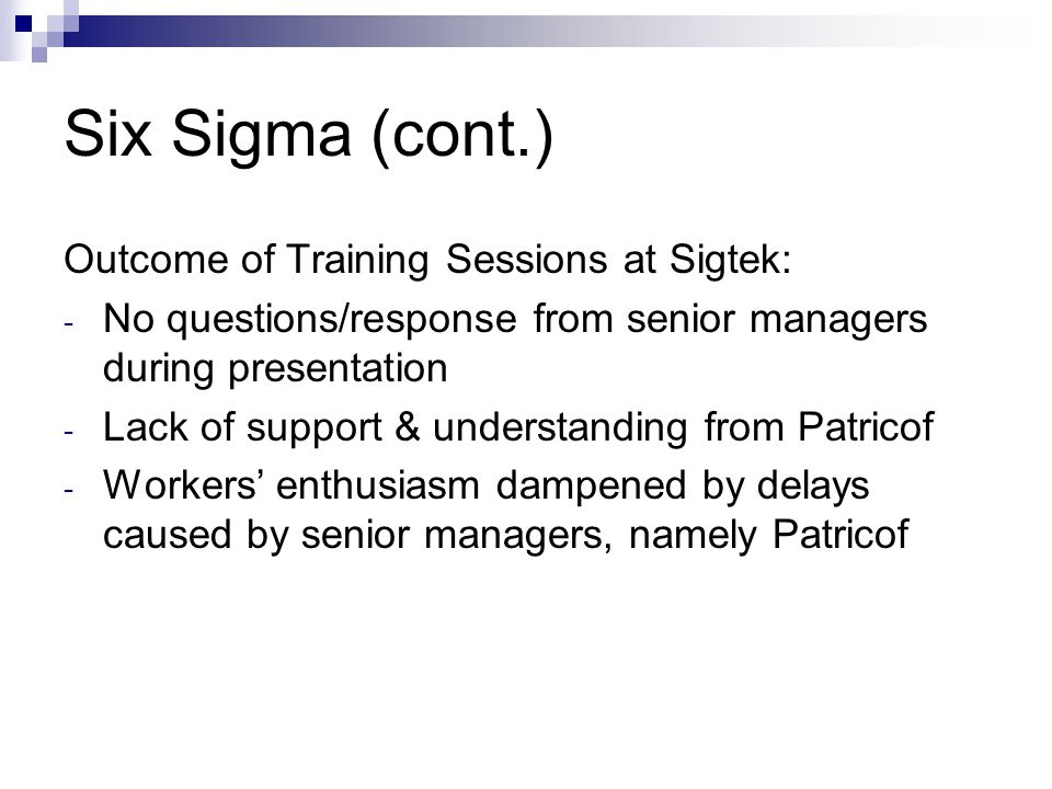 John Smithers at Sigtek Case ... - Case Study Analysis