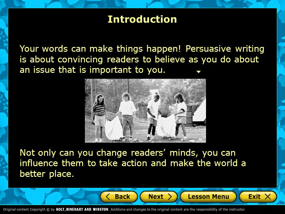 good persuasive essay introduction Characteristics of a persuasive essay must be presented in the introduction of the essay when making a claim, ask yourself any of the following.
