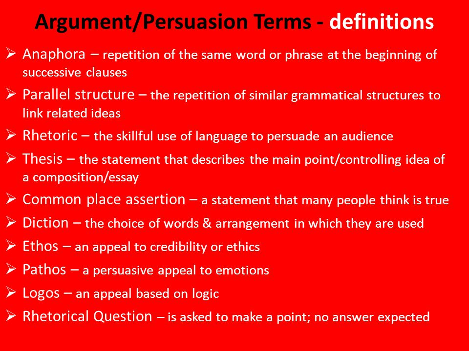 Argument persuasion assertion thesis