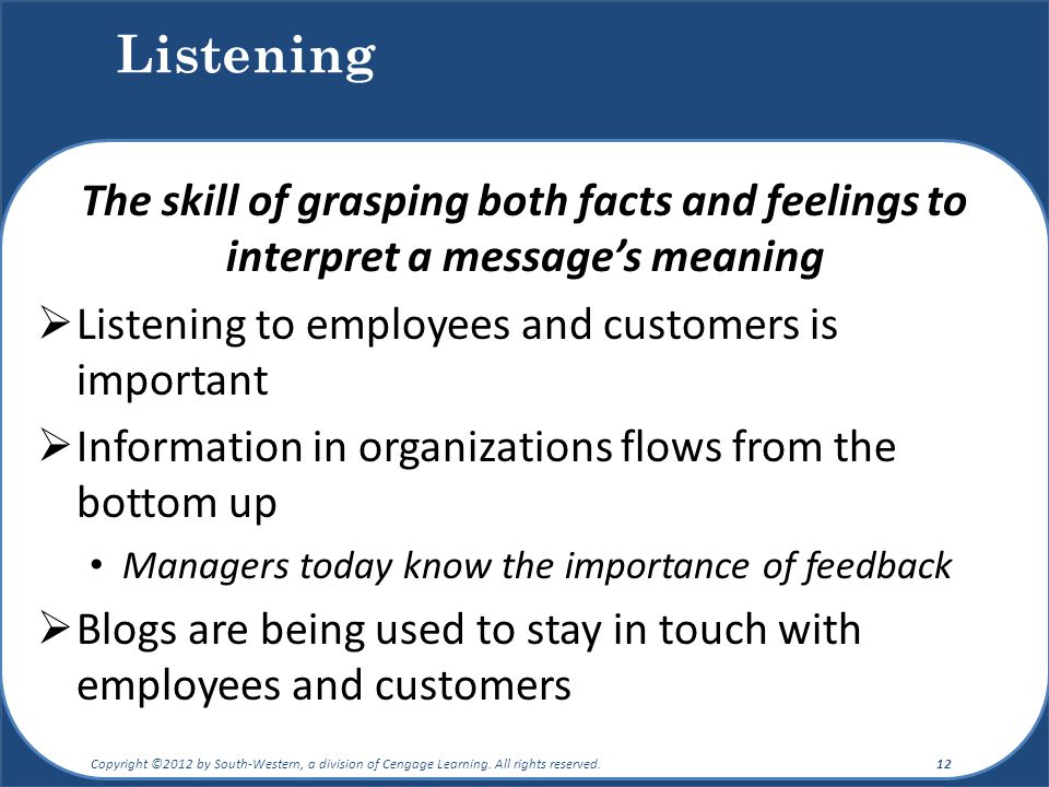 Listening The skill of grasping both facts and feelings to interpret a message's meaning. Listening to employees and customers is important.