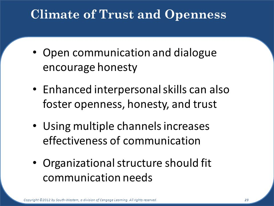 Climate of Trust and Openness