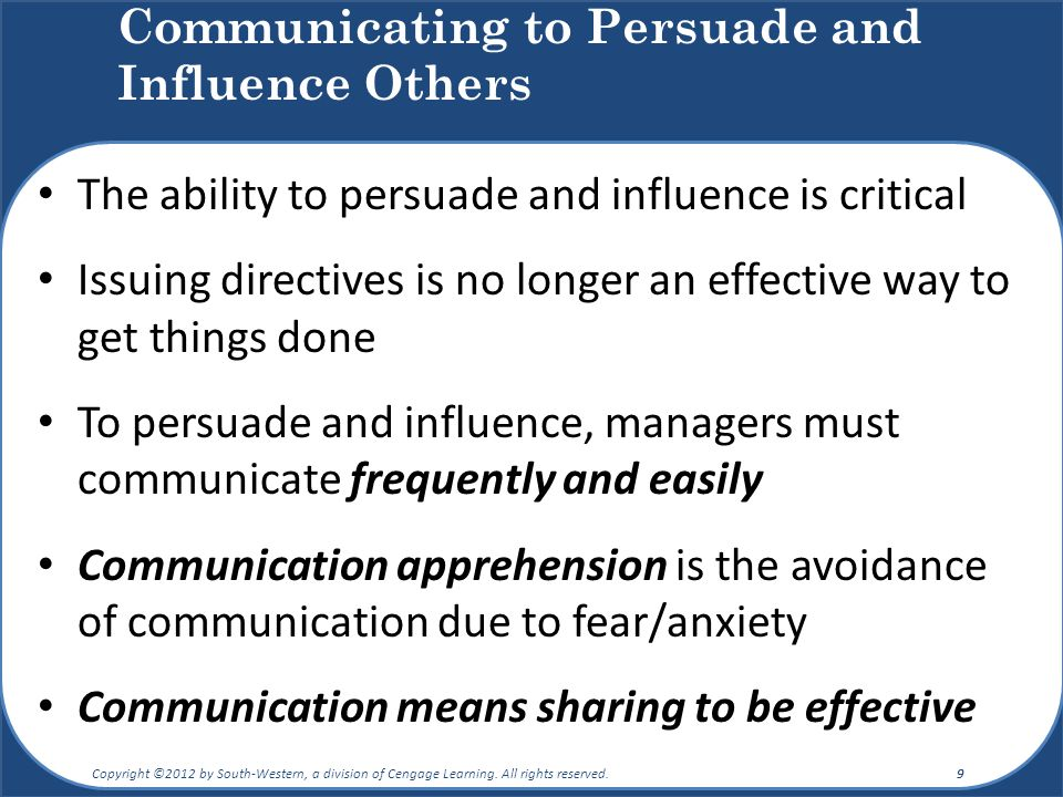 Communicating to Persuade and Influence Others