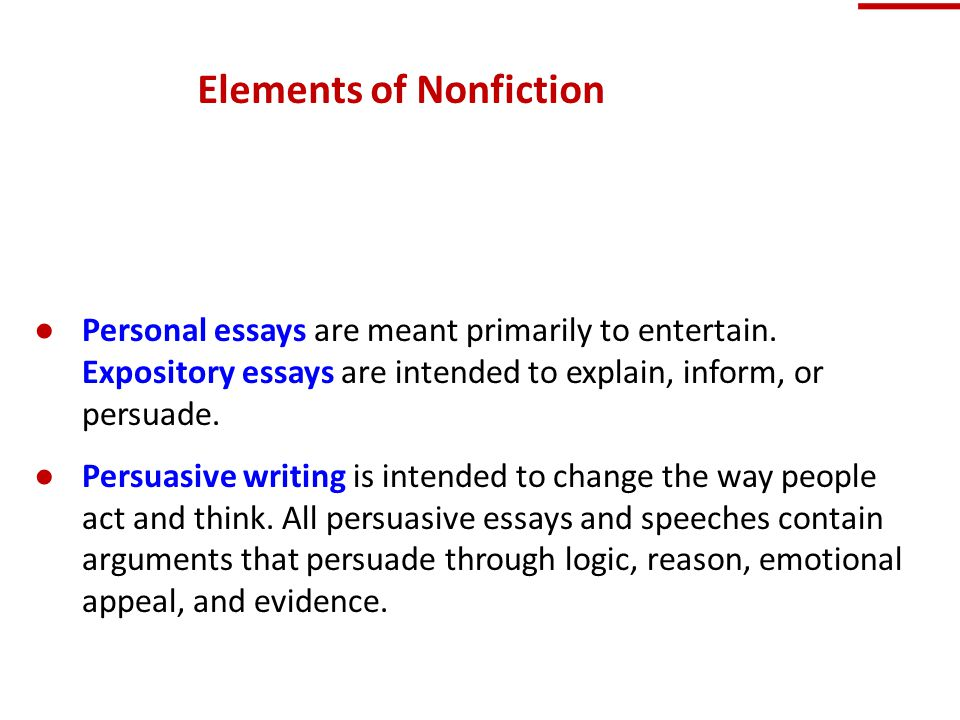 elements of a persuasive essay ppt Five elements of effective writing 1 central idea this element of good writing involves focusing on a clear, manageable idea, argument, or thesis  and persuasive g qu otations support.