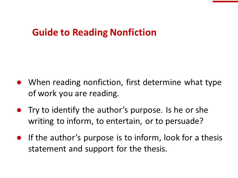 Guide to Reading Nonfiction