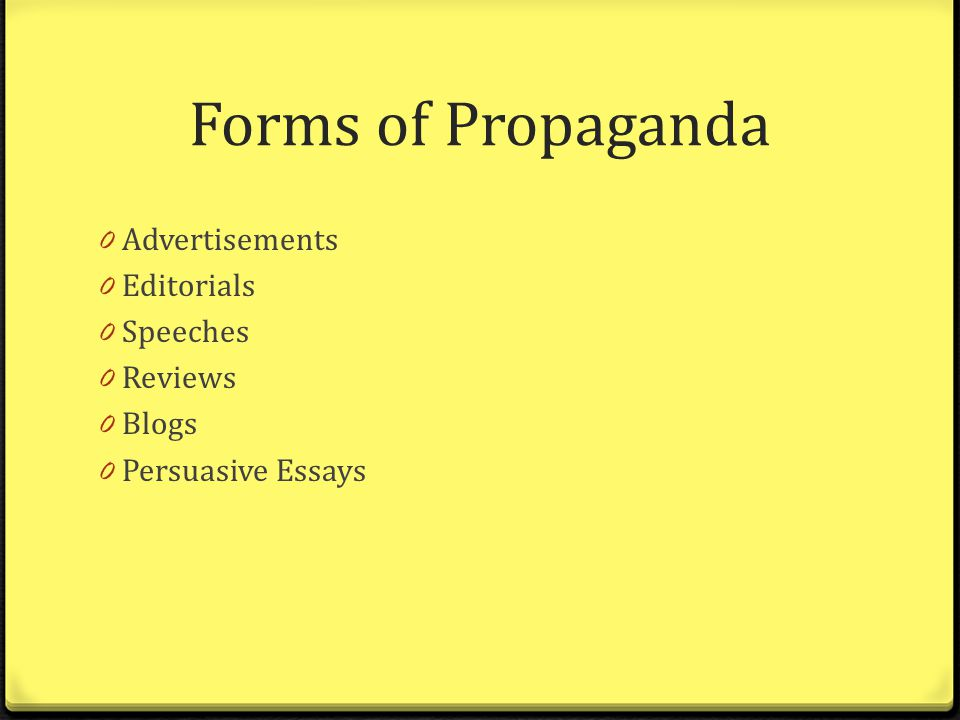 essays on propaganda techniques Jacqueline de leeuw even though propaganda can promote both positive and negative things, i strongly believe that propaganda generally has negative effects towards.