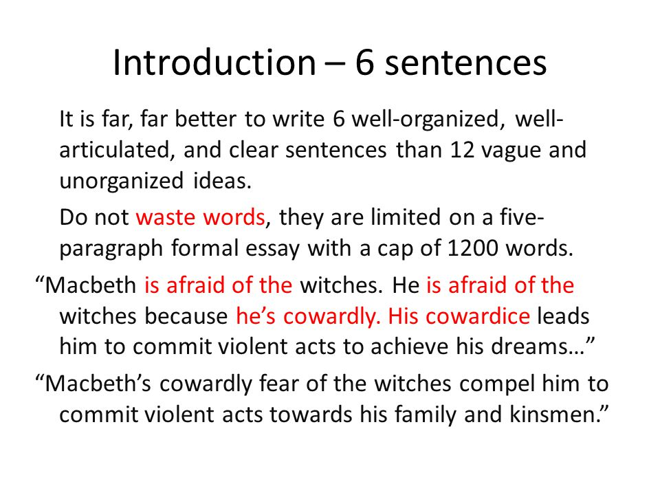 formal essay workshop the introduction ppt  17 introduction 6 sentences