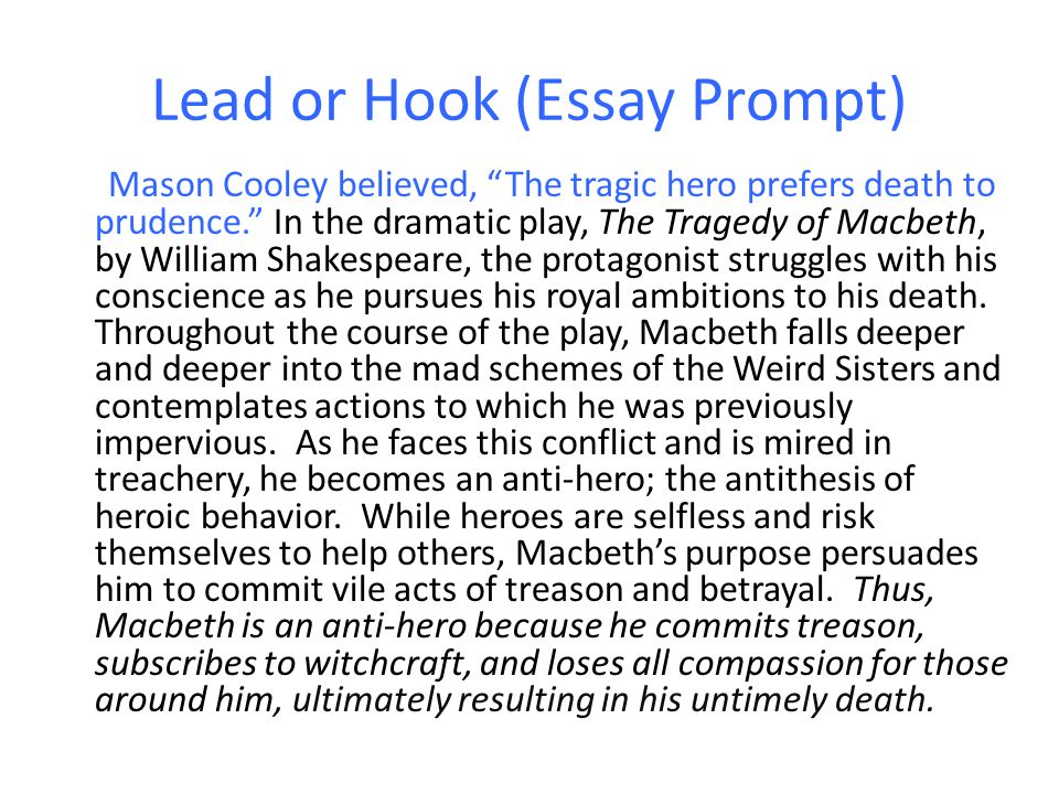 formal essay hook