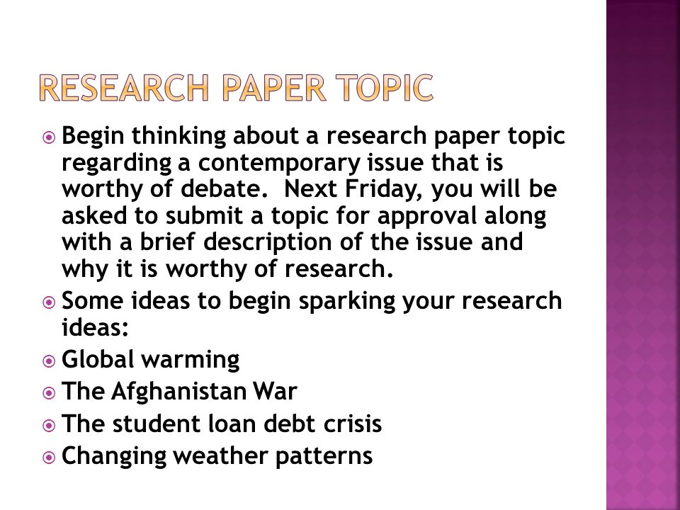 Research paper topic