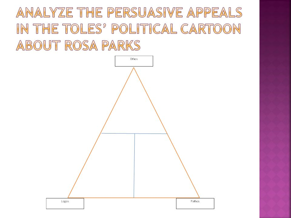 Analyze the persuasive appeals in the toles' political cartoon about rosa parks