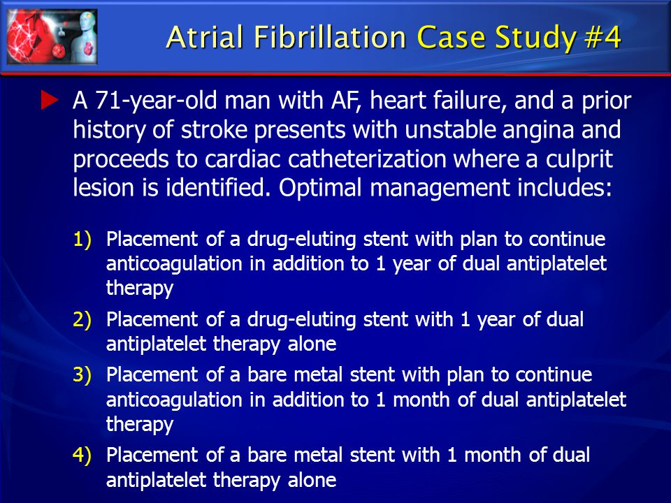 atrial fibrillation case study Karjalainen j, kujala u, kaprio j, sarna s, viitasalo m lone atrial fibrillation in vigorously exercising middle aged men: case-control study bmj 1998 316: 1784 - 1785 crossref.