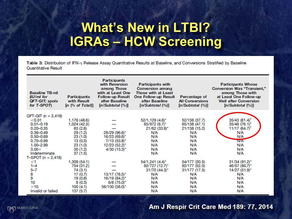 What's New in LTBI IGRAs – HCW Screening