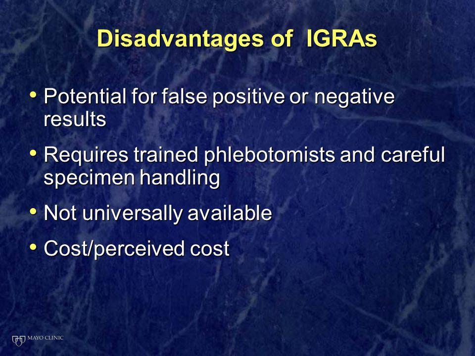 Disadvantages of IGRAs
