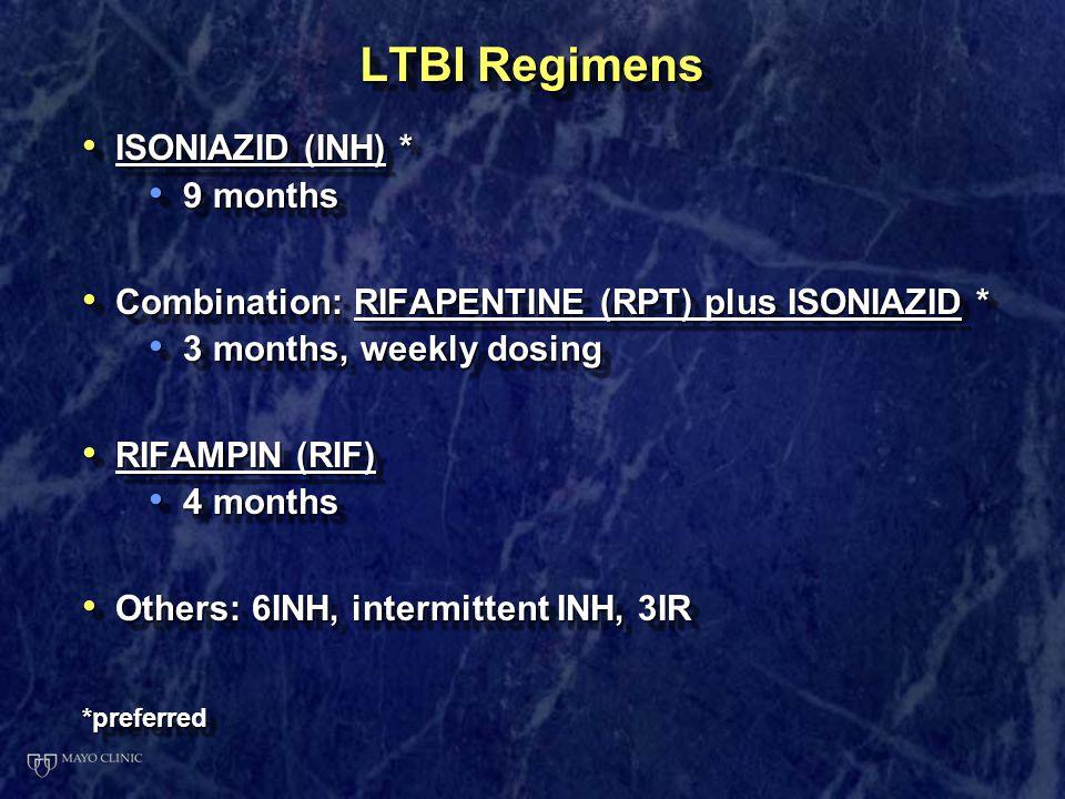 LTBI Regimens ISONIAZID (INH) * 9 months