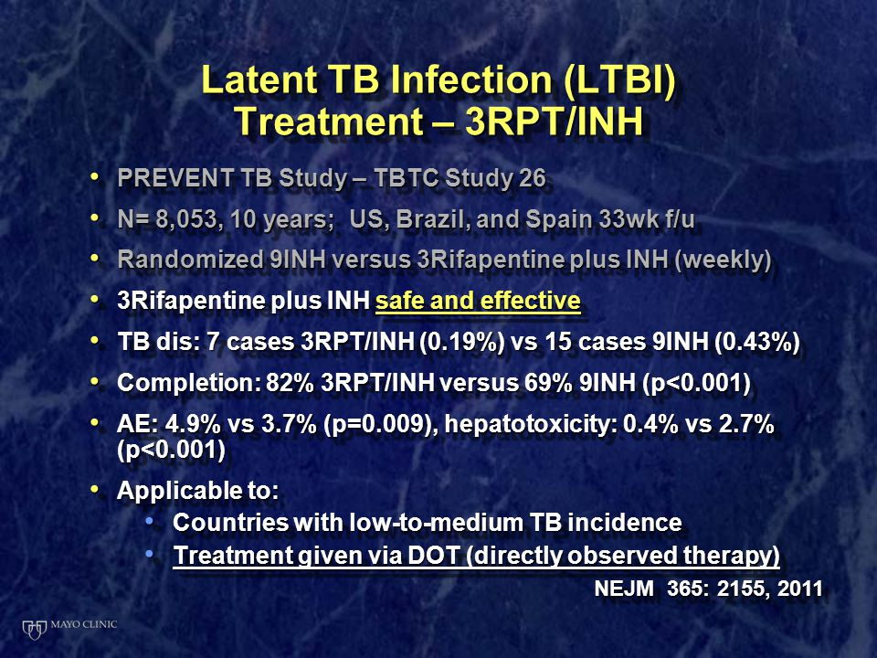 Comparing Two Preventive Regimens for Latent Tuberculosis ...