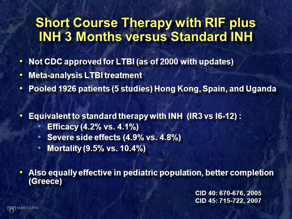 Short Course Therapy with RIF plus INH 3 Months versus Standard INH