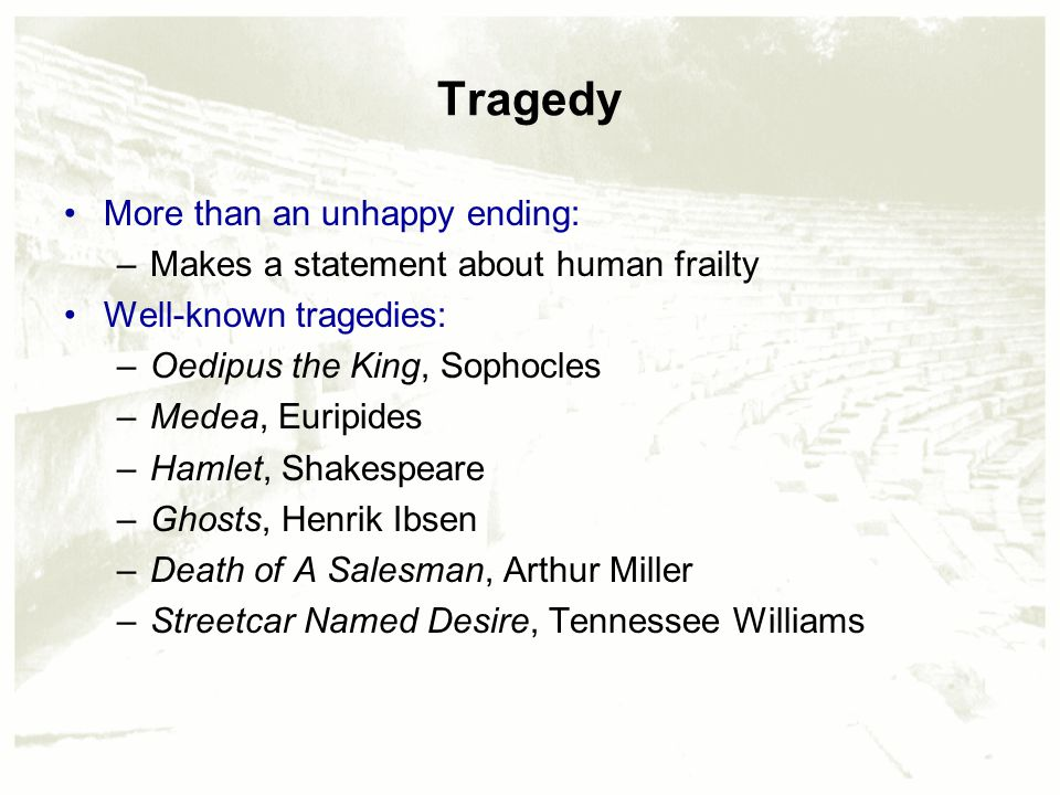 """an analysis of the tragedy and fate in death of a salesman by arthur miller and oedipus the king by  Name of student name of institution name of instructor date due a comparative analysis of sophocles' oedipus the king and arthur miller's death of a salesman according to """"the tragic vision"""", a good tragedy is one with a person of stature and his demise affects an entire family, group or society."""