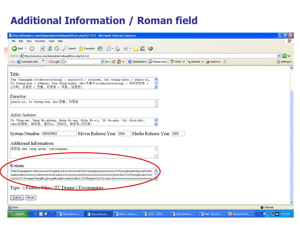 Additional Information / Roman field