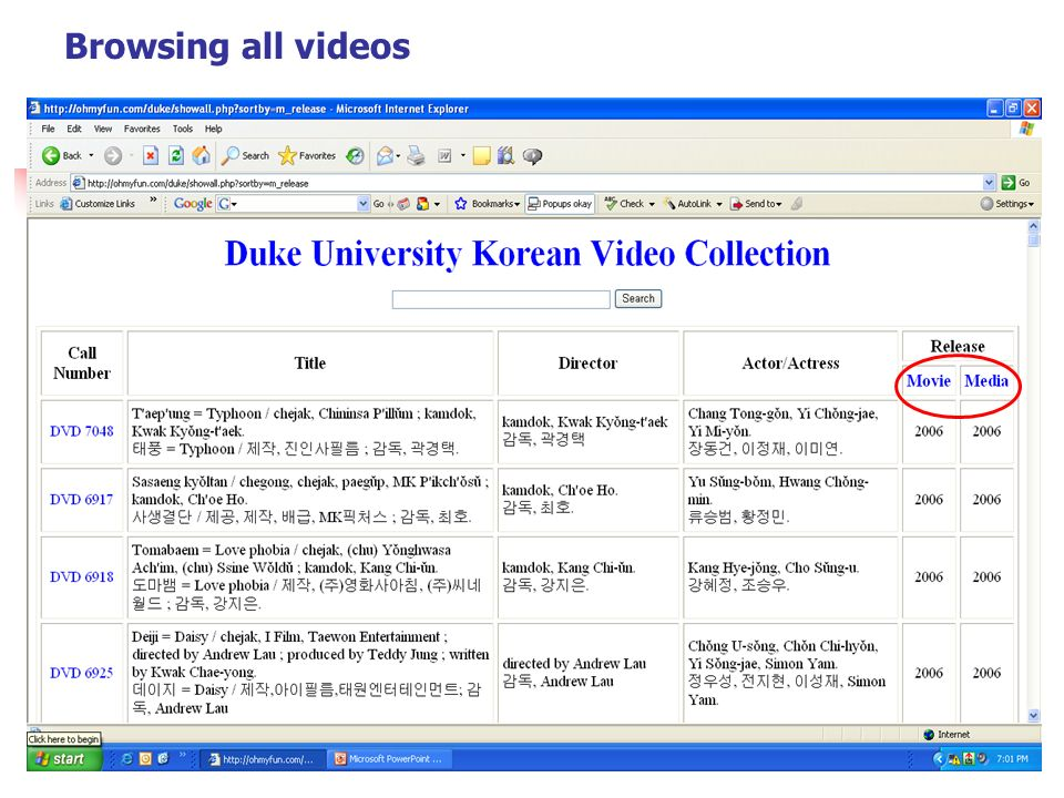 Browsing all videos In addition, you can sort by Movie or Media Release year.