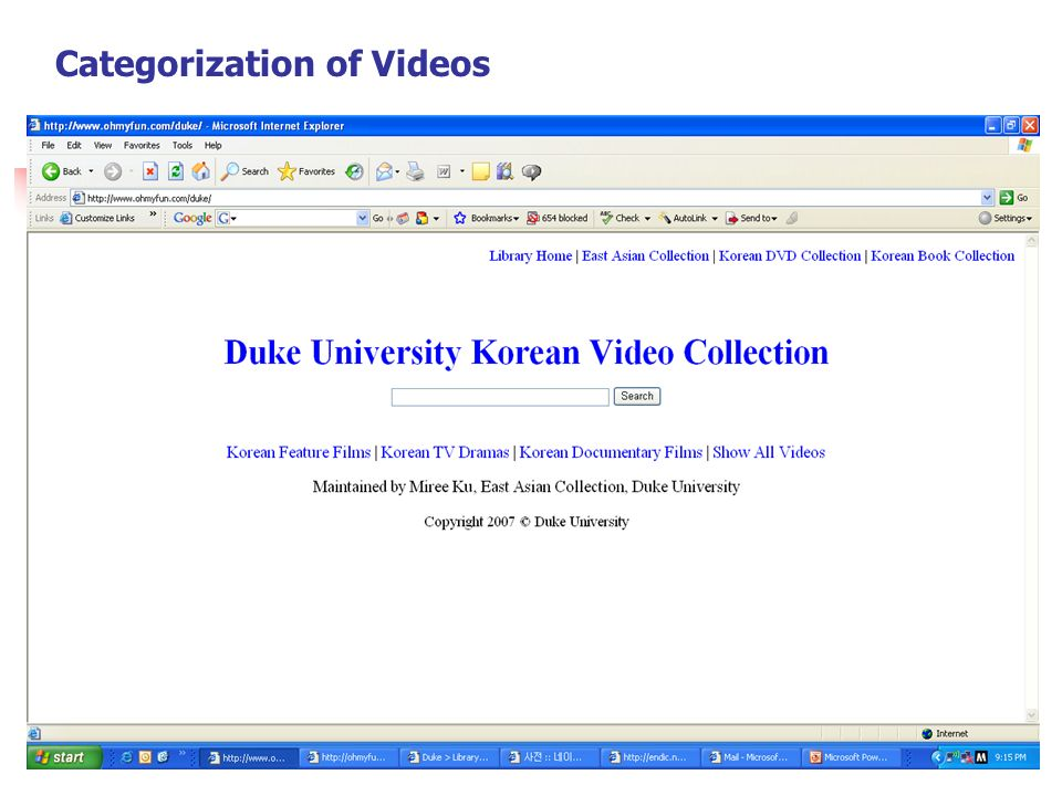 Categorization of Videos