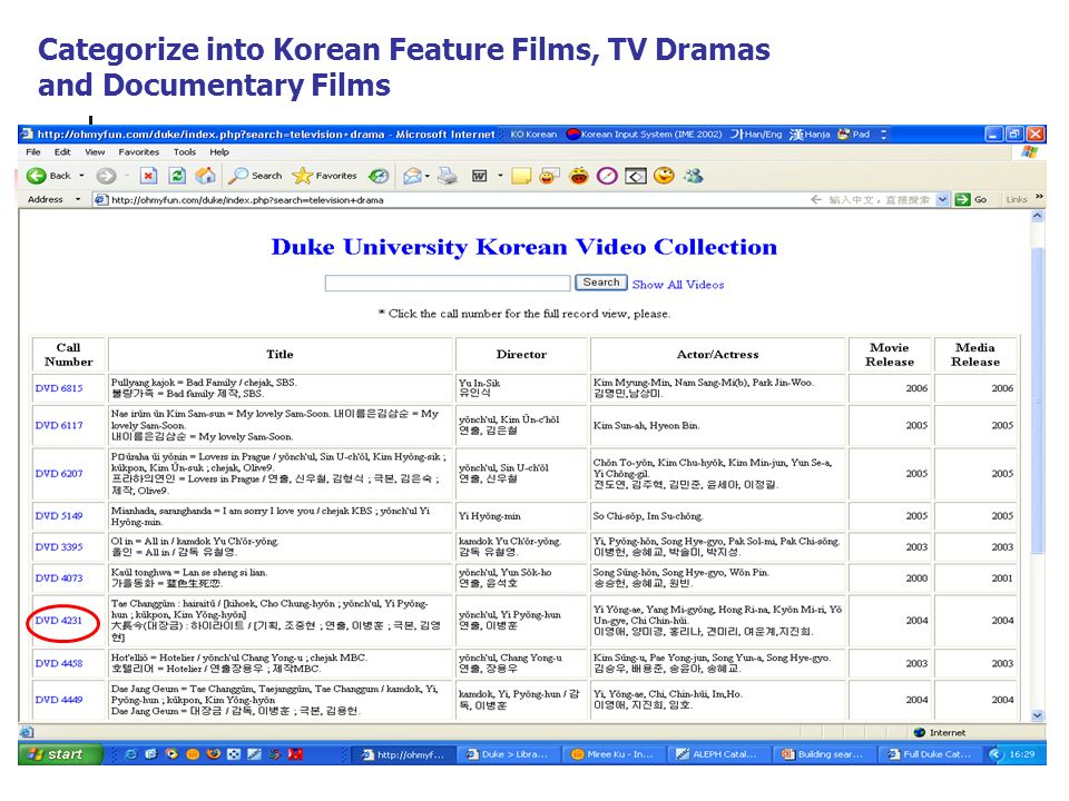 Categorize into Korean Feature Films, TV Dramas and Documentary Films