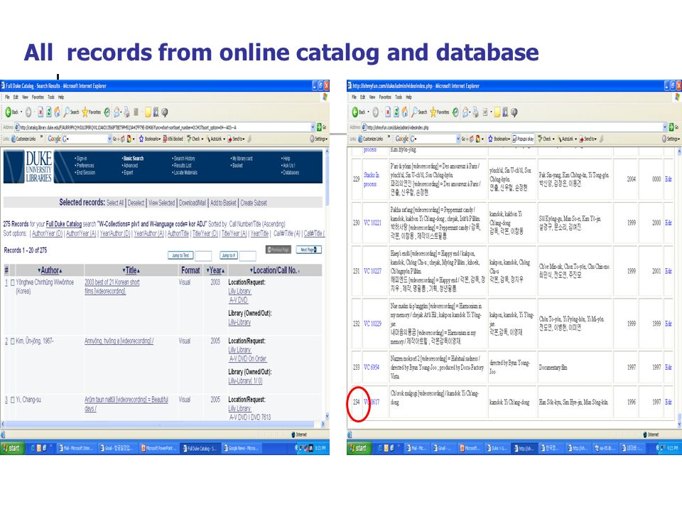 All records from online catalog and database