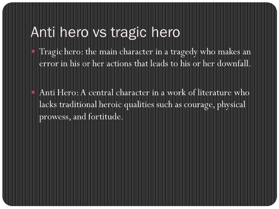 hero vs tragic hero Tragic hero definition, a great or virtuous character in a dramatic tragedy who is destined for downfall, suffering, or defeat: oedipus, the classic tragic hero see more.