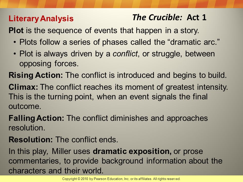 falling action of the crucible Essay the crucible: hysteria and injustice thesis statement: the purpose is to educate and display to the reader the hysteria and injustice that can come from a group of people that thinks.