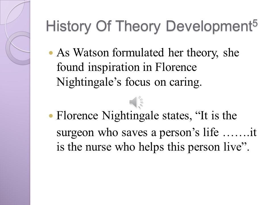compares of jean watson and nightingale Florence nightingale and the enduring legacy of transpersonal human caring-healing jean watson, phd, rn, ahn-bc, faan (watson, 2008) although nightingale's legacy foresaw the rise of modern nursing in the 20th and 21st centuries, her.