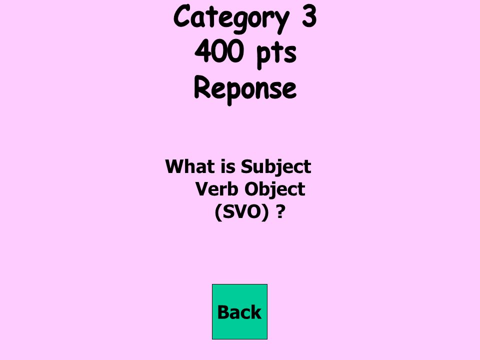 What is Subject Verb Object (SVO)