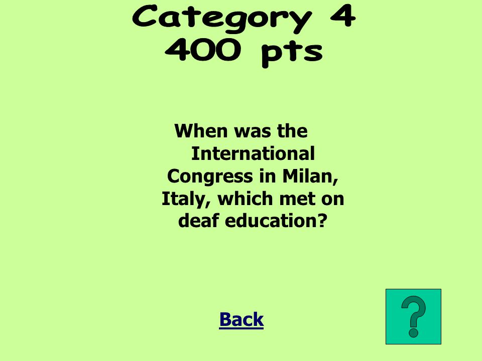Category pts. When was the International Congress in Milan, Italy, which met on deaf education