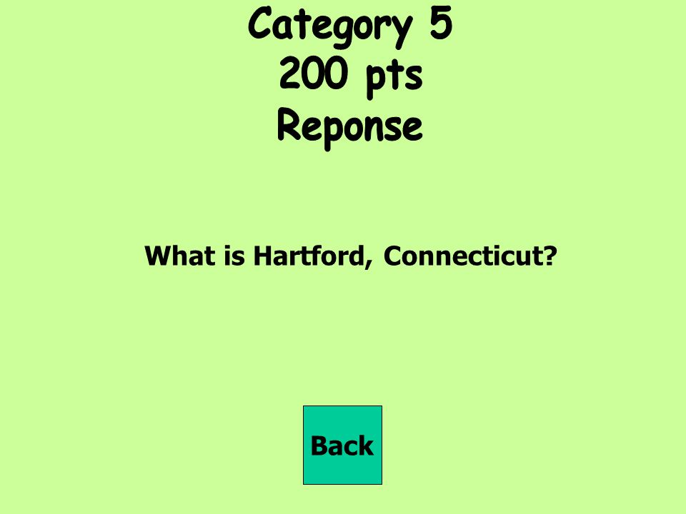 Category pts Reponse What is Hartford, Connecticut Back