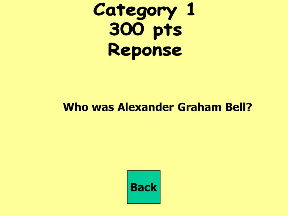 Category pts Reponse Who was Alexander Graham Bell Back