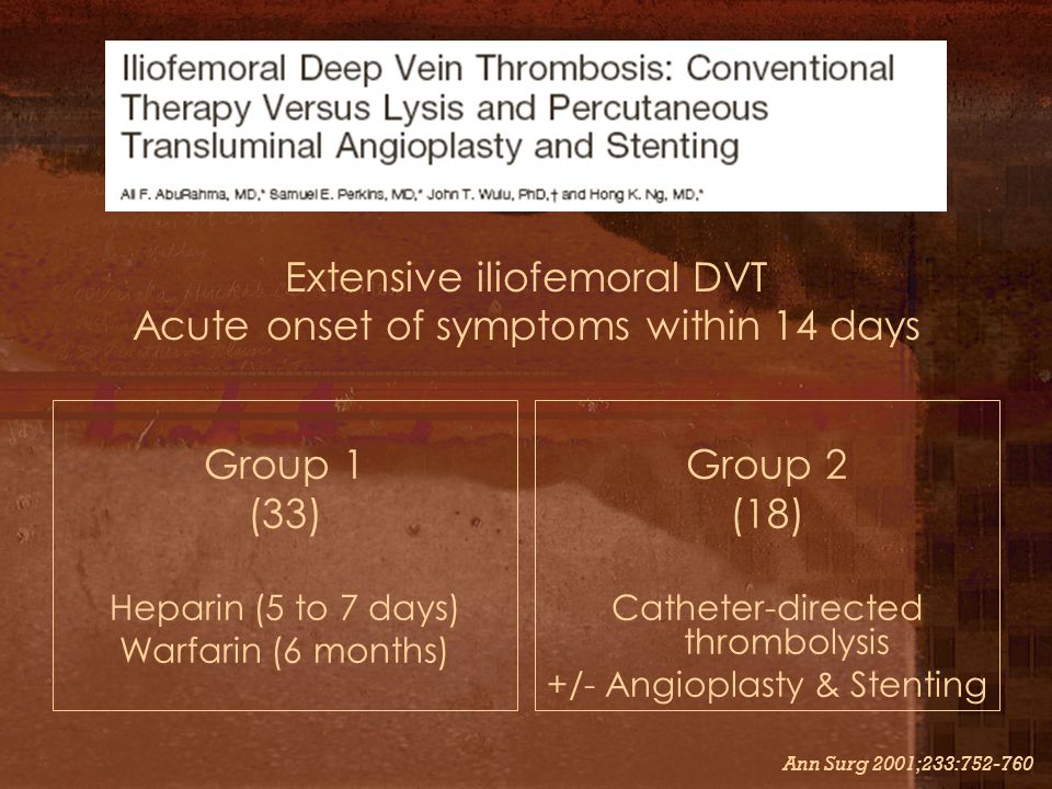 Extensive iliofemoral DVT Acute onset of symptoms within 14 days