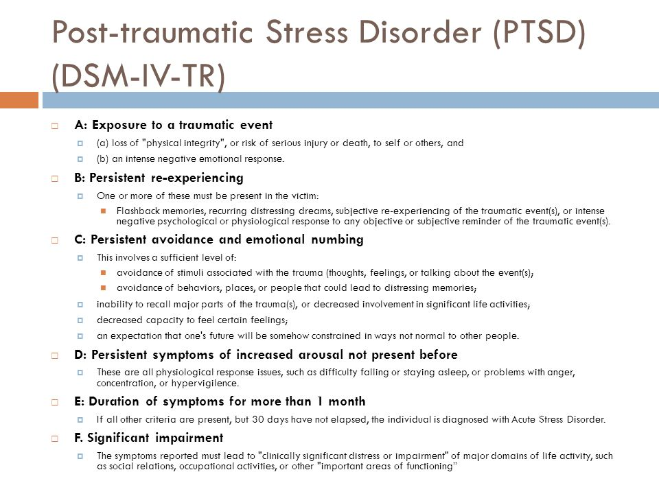 learning the three main symptoms of post traumatic stress disorder Post-traumatic stress disorder  symptoms of ptsd begin within three months of  the second relaxation skill is learning how to release muscle tension.