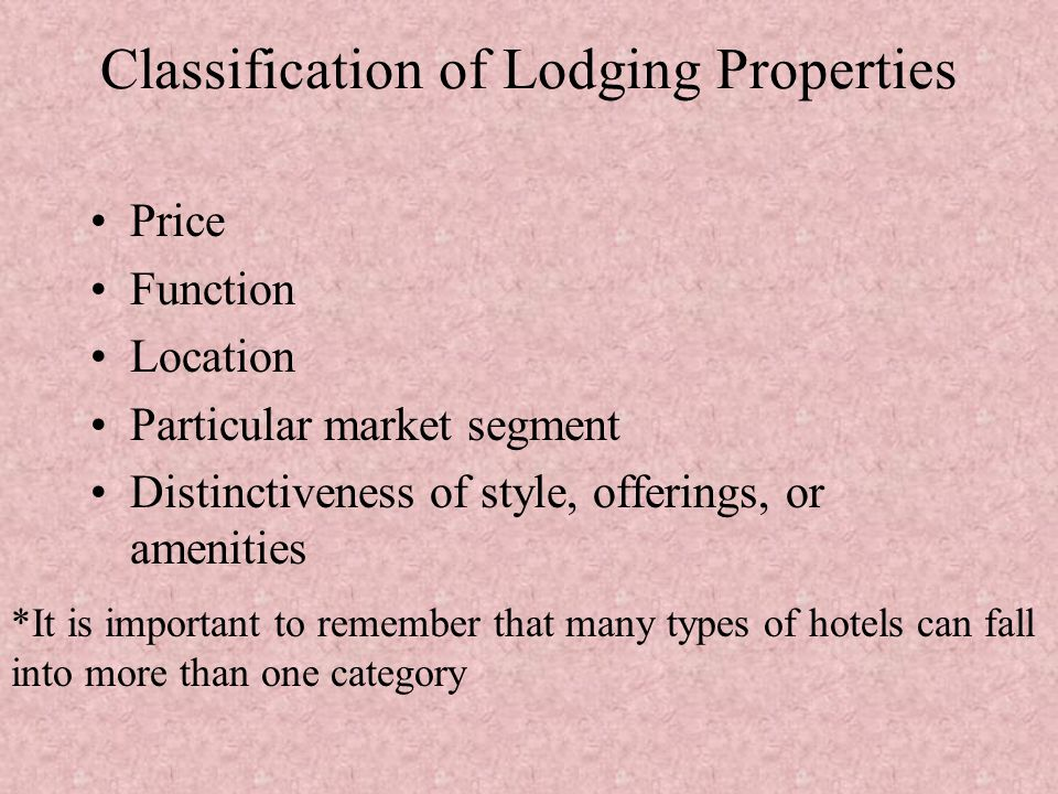 Classification of Lodging Properties