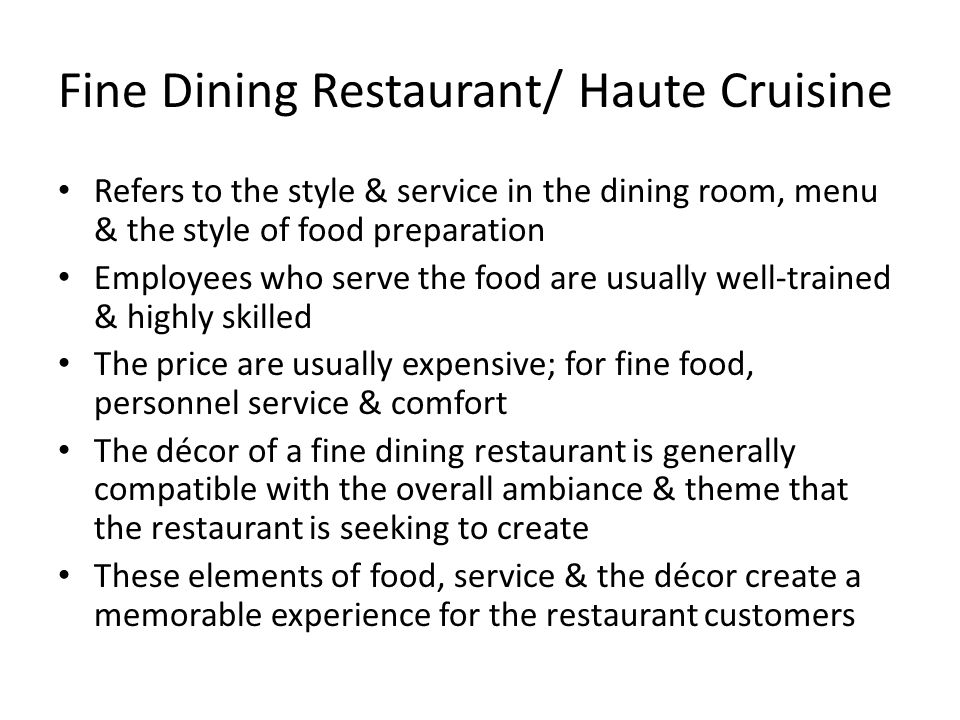 Fine dining restaurant haute cruisine dining room for Dining room meaning