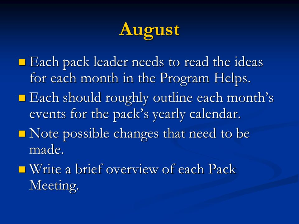 Calendar Photo Ideas For Each Month : Cub scout committee training ppt download