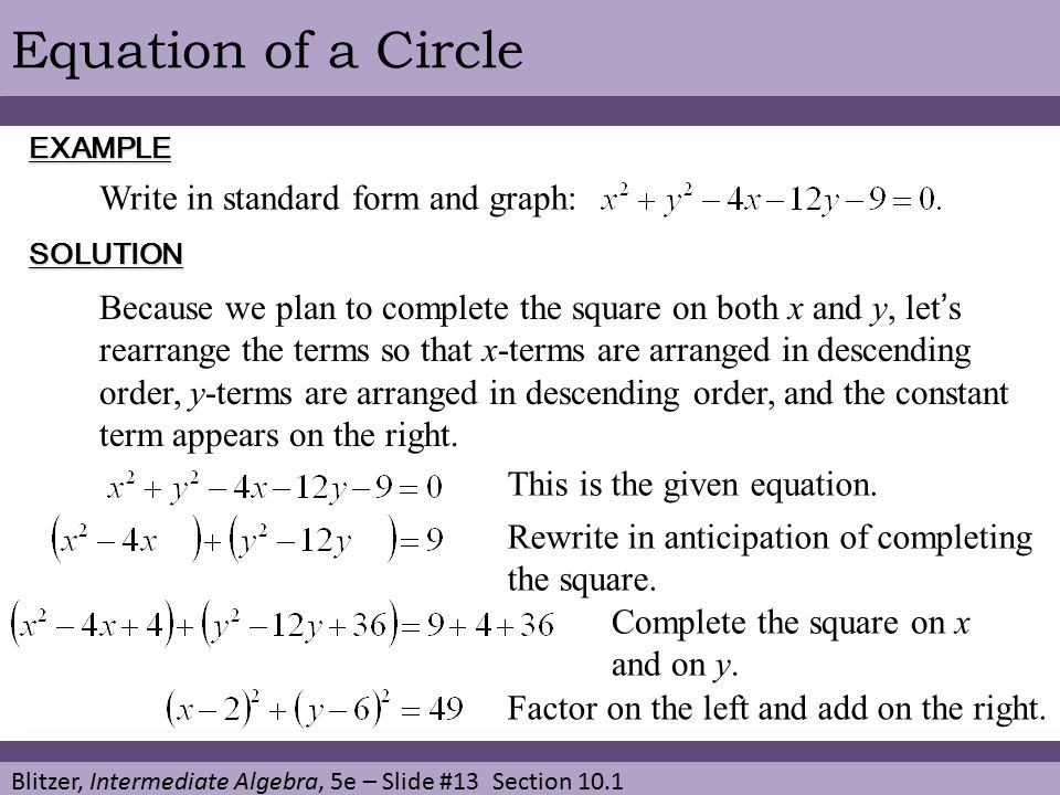 Chapter 10 Conic Sections And Systems Of Nonlinear Equations Ppt