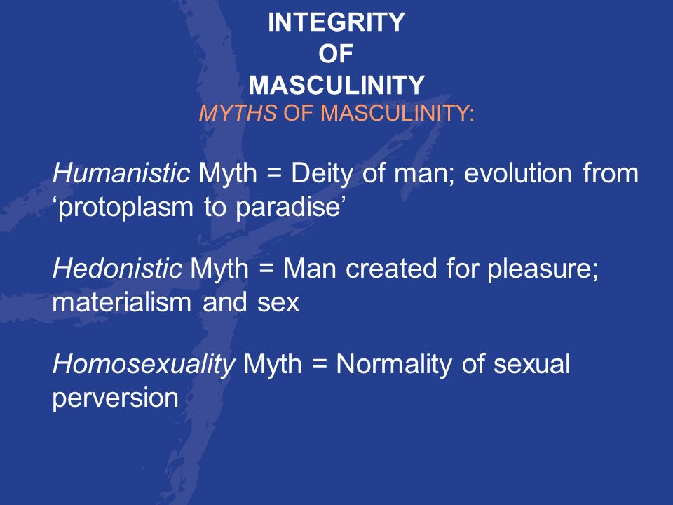 Hedonistic Myth = Man created for pleasure; materialism and sex